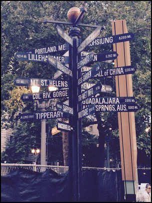 Distance Signpost in Portland's Pioneer Square